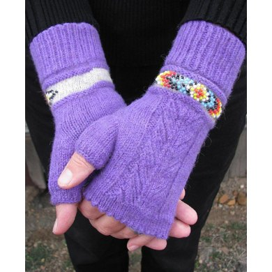 Indian Feather Fingerless Mitts & Cuffs