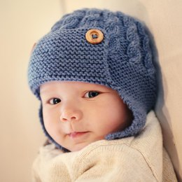 Dayton - Cabled Baby Aviator Hat