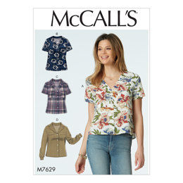 McCall's Misses' Button-Front Tops with Collar and Sleeve Options M7629 - Sewing Pattern