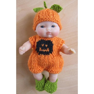 "5"" Berenguer Pumpkin Romper Set"