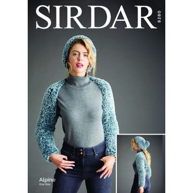 Sleeve Shrug and Pull-On Hat in Sirdar Alpine - 8280 - Downloadable PDF