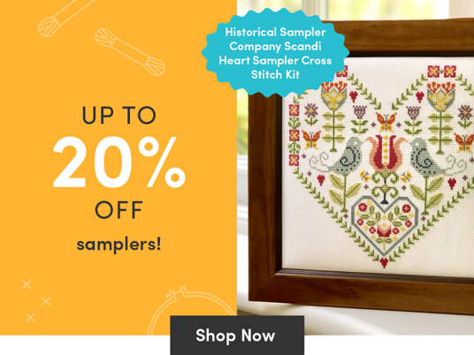 Up to 20 percent off sampler stitching kits!