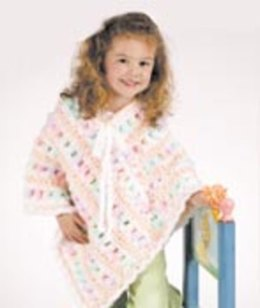 Poncho in Red Heart Baby Clouds Solids and Baby Clouds Multis- LW1460