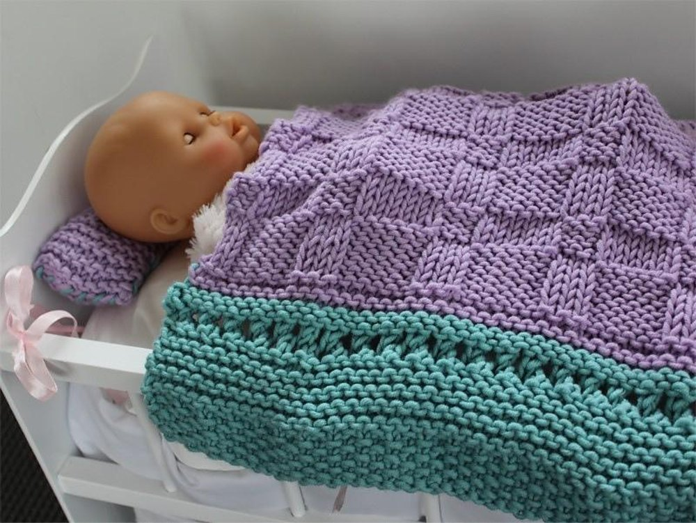 Baby Doll Blanket And Pillow Knitting Pattern By Vanessa Cayton
