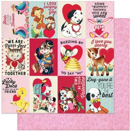 "Authentique Paper Love Notes Double-Sided Cardstock 12""X12"" 18/Pkg - #8 3""X4"" Animal Sayings Cut-Aparts"