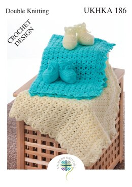 Crochet Blanket and Bootees in King Cole DK - UKHKA186pdf - Downloadable PDF
