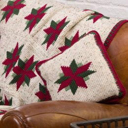 Christmas Star Throw and Pillow in Red Heart Super Saver Economy Solids - LW2071