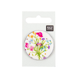 Rico Button Floral White