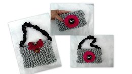 894 Two little purses- Two knit flowers