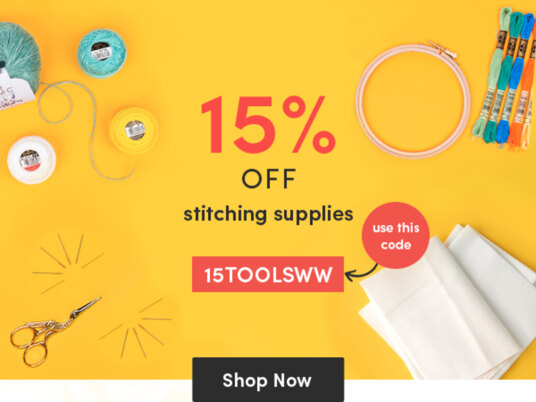 15 percent off stitching supplies! Use your code 15TOOLSWW