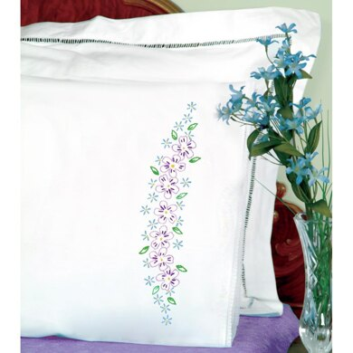 Jack Dempsey Stamped Pillowcases W White Lace Edge 2Pkg - Lavender Flowers