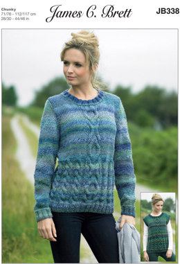 Ladies Sweater and Slipover in James C. Brett Marble Chunky - JB338