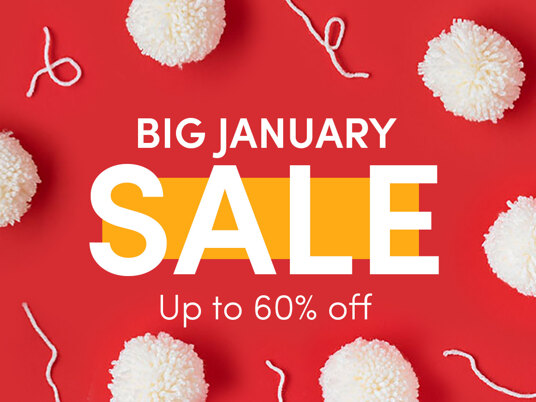 Up to 60 percent off in the BIG January Sale!