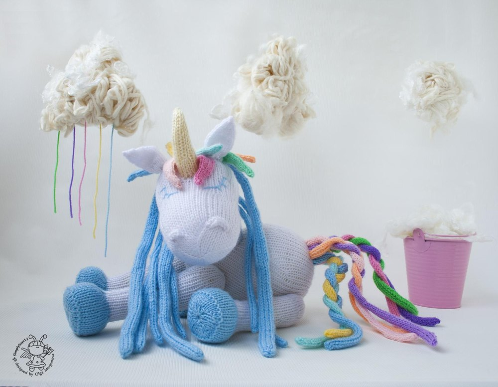 Rainbow Unicorn Knitting Pattern : Rainbow unicorn knitting pattern by simplytoys