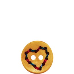 Heart Wood 23mm 2-Hole Button