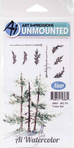 Art Impressions Watercolor Cling Rubber Stamps - Fir Trees
