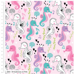 Craft Cotton Company Sweet Little Seahorse - On Pink