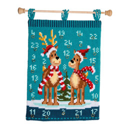 Vervaco Wall Hanging Advent Calendar Christmas Elk with Scarves Cross Stitch Kit - 40cm x 53cm