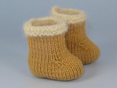Baby Simple Fur Trim Booties Bootees Knitting Pattern By