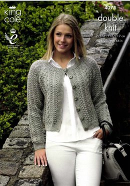 Curved and Straight Cardigans in King Cole Merino Blend DK - 4071