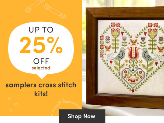 Up to 25 percent off selected sampler cross stitch kits!