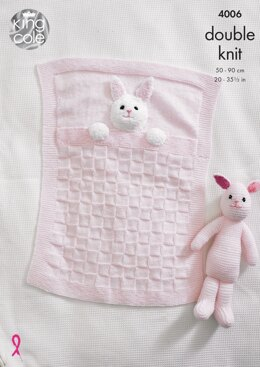 Baby Blankets and Bunny Rabbit Toy in King Cole DK - 4006