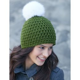 Quick Pompom Hat in Bernat Softee Chunky and Faux Fur Pompom - Downloadable PDF