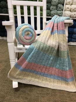 Vertical Lines Baby Blanket in Plymouth Yarn Hot Cakes - F828 - Downloadable PDF