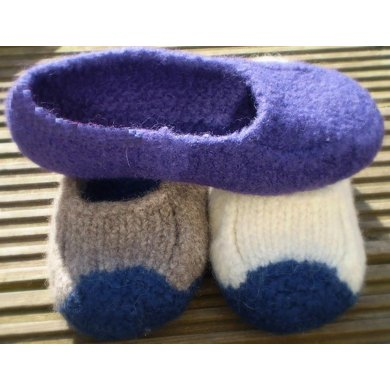Duffers 19 Row Felted Slippers Knitting Pattern By Knit Purl Makes