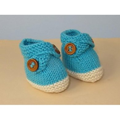 Baby 2 Colour Cross Strap Booties
