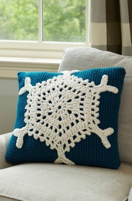 Snowflake Pillow in Red Heart With Love Solids - LW3713