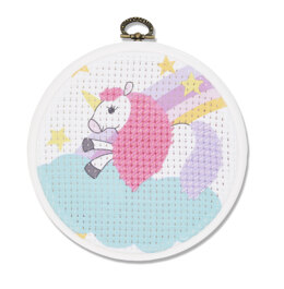 DMC The Unicorn Cross Stitch Kit (with 5in plastic hoop)