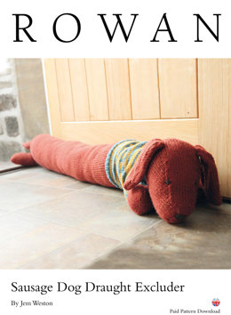 Sausage Dog Draught Excluder in Rowan Pure Wool DK