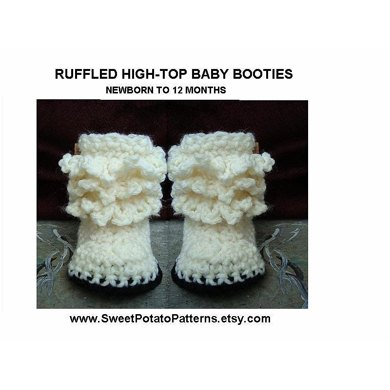 Ruffled Booties | Crochet pattern by SweetPotatoPatterns