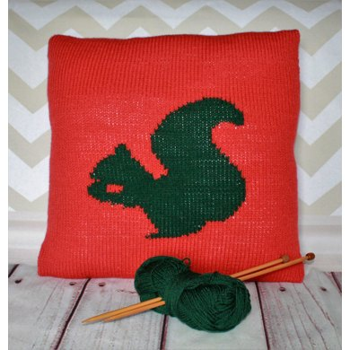 Beginner Squirrel Cushion Cover Knitting pattern by Ruby and the Foxes