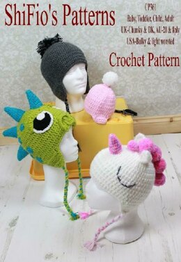 Crochet pattern Unicorn & Dinosaur Hat UK & USA Terms #361