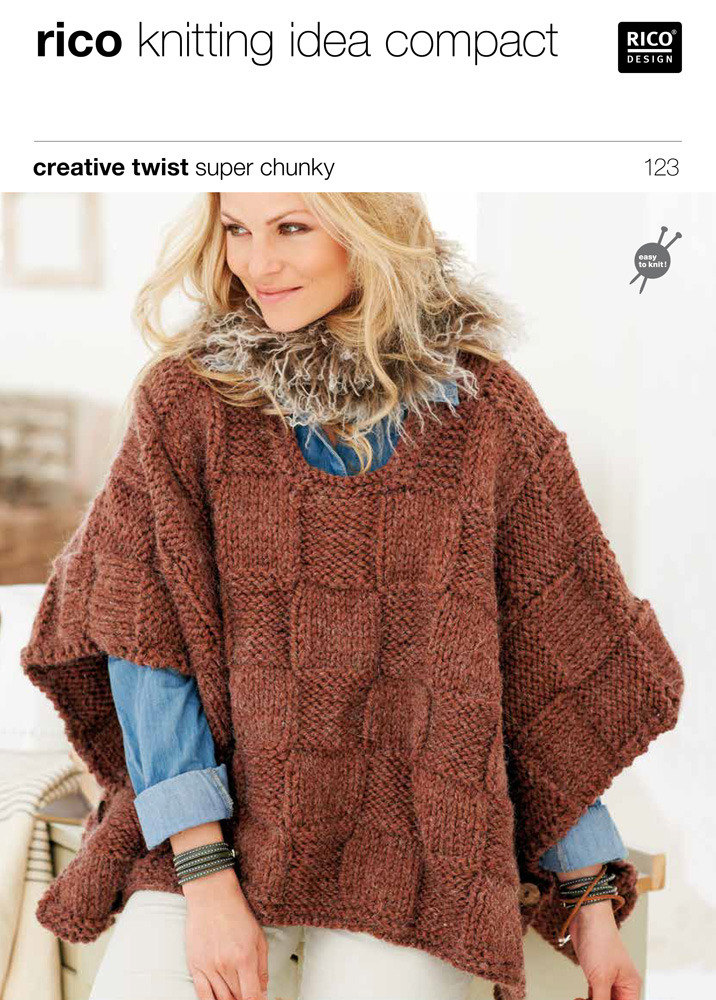 Ponchos In Rico Creative Twist Super Chunky 123 Crochet Patterns