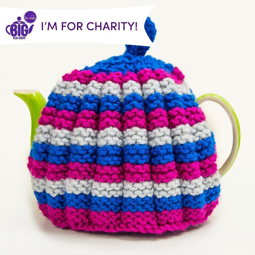 Rainbow Ruched Tea Cosy by Monica Russel Knitting pattern by Breast Cancer Haven