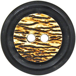 Textured Center Horn 25mm 2-Hole Button