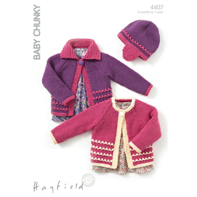 One Button Cardigans and Hat in Hayfield Baby Chunky - 4407