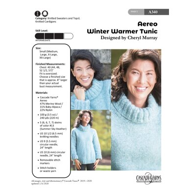 Winter Warmer Tunic in Cascade Yarns Aereo - A340 - Downloadable PDF