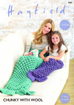 Women and Girls Mermaid Tails in Hayfield Chunky with Wool - 7907 - Leaflet