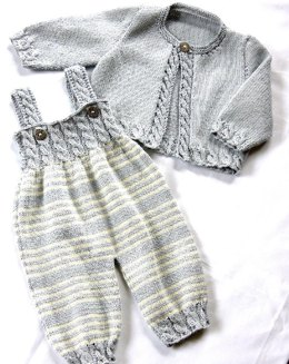 Baby Overalls with detailed cabled bodice and matching sweater