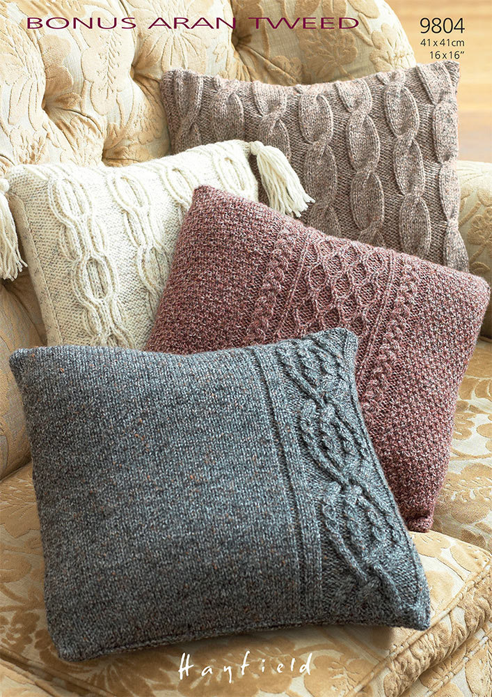 Mohair Cushion Knitting Pattern : Cushion Covers in Hayfield Bonus Aran Tweed - 9804 - Downloadable PDF