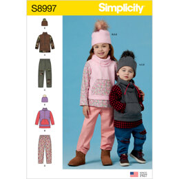 Simplicity S8997 Toddlersand Children's Pants, Knit Top and Hat - Sewing Pattern