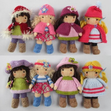 Little Belles Small Knitted Dolls Knitting Pattern By Dollytime