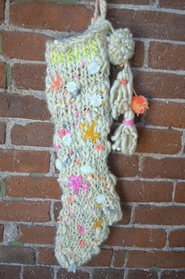Christmas Stocking in Knit Collage Gypsy Garden