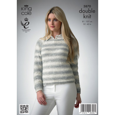 Ladies' Sweater, Cardigan and Hat in King Cole Galaxy DK - 3870