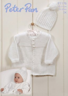 Cable Edged Jacket and Hat in Peter Pan DK - 1176