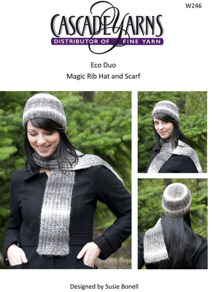 Magic Rib Hat Scarf In Cascade Eco Duo W246 Knitting Patterns